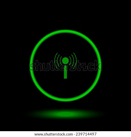 The wireless network   green circle on a black background, vector, EPS 10 - stock vector