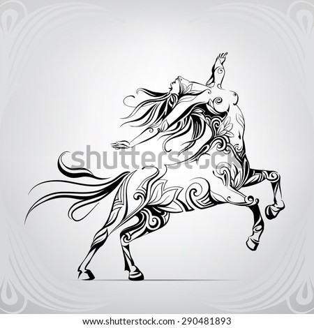 The woman a centaur in a jump - stock vector