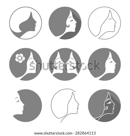 The woman fashion icon or logo. Flat design. Vector illustration - stock vector