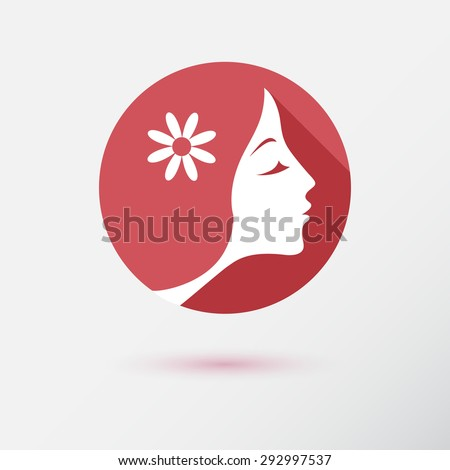 The woman fashion icon or logo with flower. Flat design. Vector illustration - stock vector