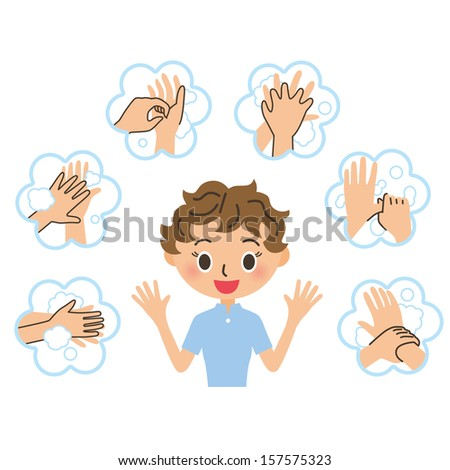 The woman who explains the, hand-washing - stock vector