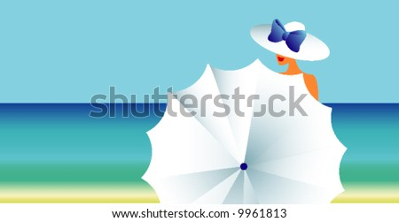 The woman with a umbrella - stock vector