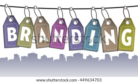 The word branding made from more tags hanging on a wire - stock vector