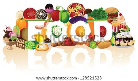 The word Food Spelled By A Pile of Foods. EPS 8 vector, no open shapes or paths. Grouped for easy editing. - stock vector