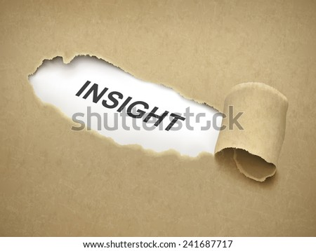 the word insight behind brown torn paper - stock vector