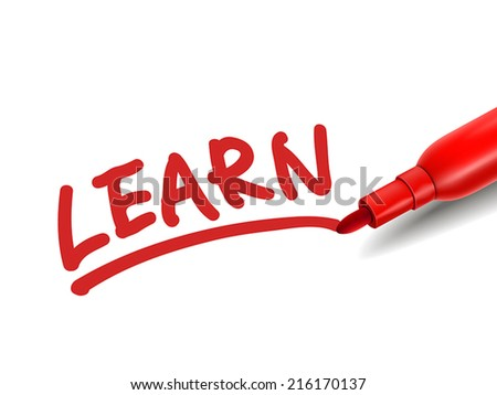 the word learn with a red marker over white - stock vector