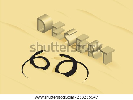The word the desert from sand and two snakes - stock vector