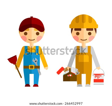 The workers are ready to paint.  - stock vector