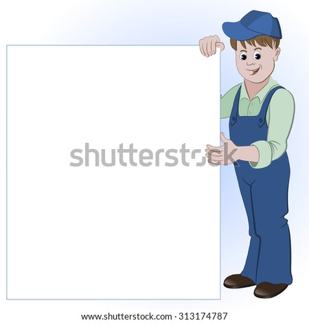 The workman or handyman standing with list of space for text - stock vector