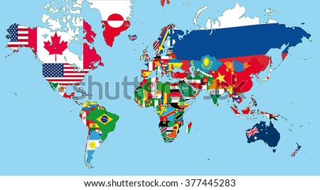 The world map with all states and their flags - stock vector