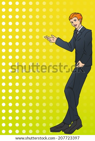 The young attractive  businessman stands and shows by own hand on object. The man is dressed in a business suit with a tie. Vector color drawing - stock vector