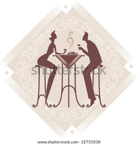 The young couple is having a dinner. Vector art. Decorative background. - stock vector