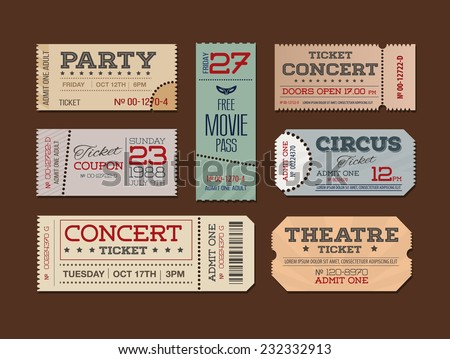 Theater and cinema Tickets & Coupons. A collection of  vector Tickets - stock vector