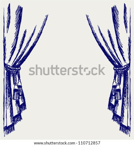 Theater curtain. Sketch - stock vector