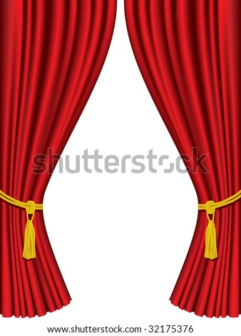 Theater curtains isolated on white background - stock vector