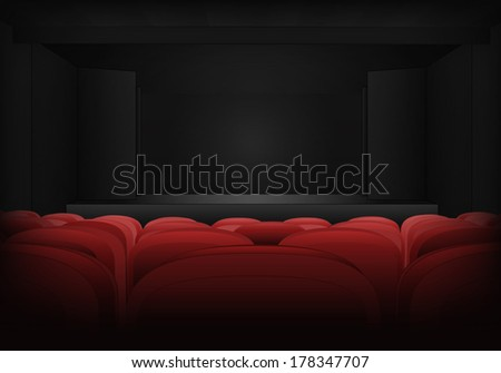 theater empty interior scene with red seats in auditorium vector illustration - stock vector