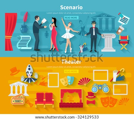 Theater horizontal banner set with scenario flat elements isolated vector illustration - stock vector