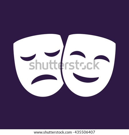 Theater icon with happy and sad mask . Vector illustration - stock vector