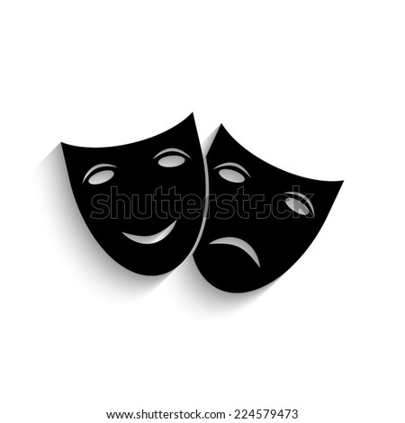 Theater icon with happy and sad masks  - black vector icon with shadow  - stock vector