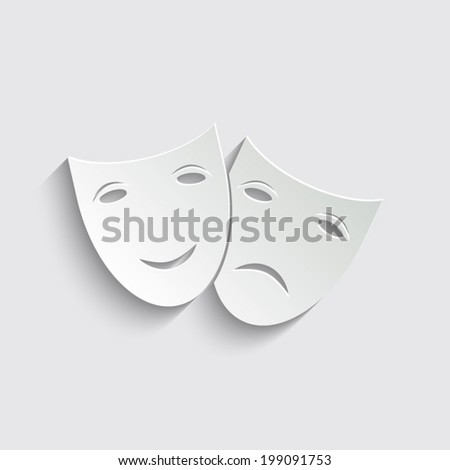 Theater icon with happy and sad masks on a grey background - stock vector
