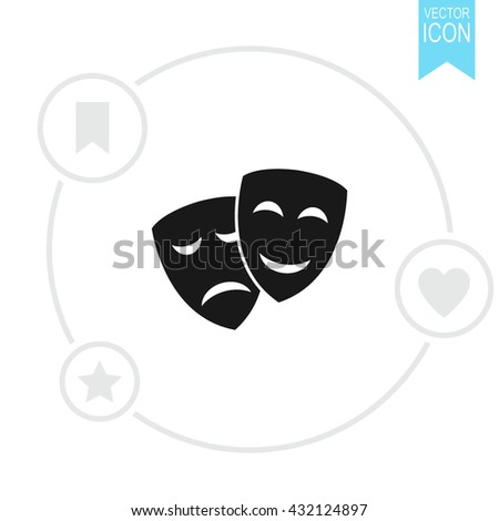 Theater icon with happy and sad masks vector icon. Comedy and tragedy theatrical masks. - stock vector