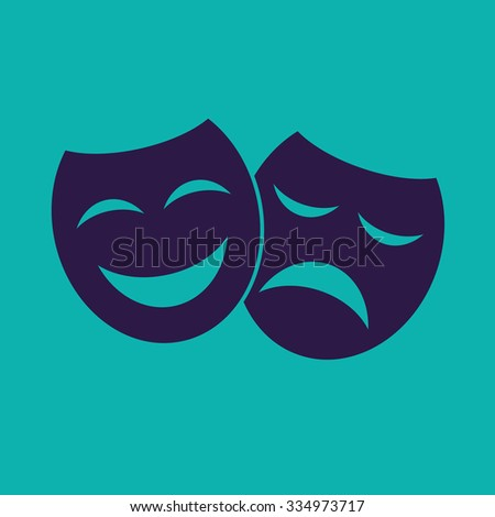 Theater icon with happy and sad masks. VECTOR illustration - stock vector