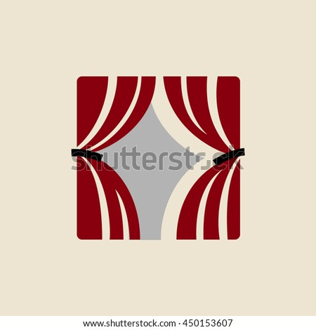 Theater logo template. Curtains icon. Vector illustration. - stock vector