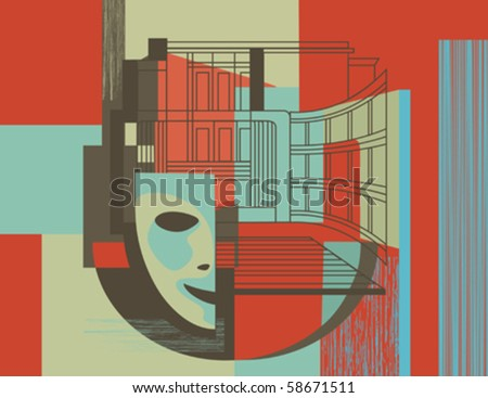 Theater mask - stock vector
