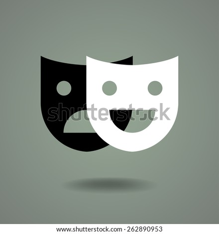 Theater masks logo design - stock vector