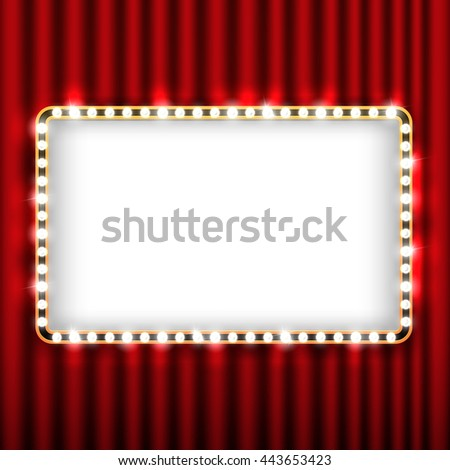 Theater scene with red curtain and sign with gold frame. Presentation banner with curtain for theater, illustration theater curtain - stock vector