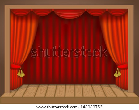 theater scene with rich draperies, curtains, wooden floor - stock vector
