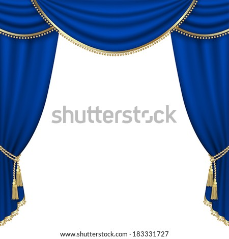 Theater stage  with blue curtain. Mesh. - stock vector