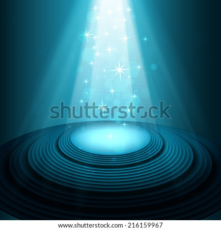 Theater stage with blue spotlights  vector - stock vector