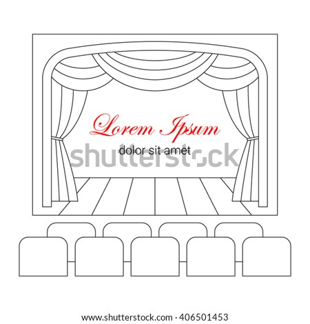 Theater stage with curtain and  seats vector line illustration. Cinema  logo  template. Entertainment icon. - stock vector