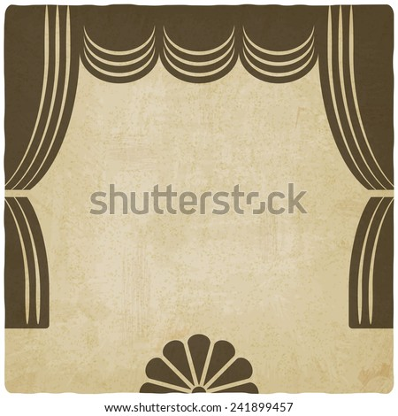 theater stage with curtains old background - vector illustration. eps 10 - stock vector