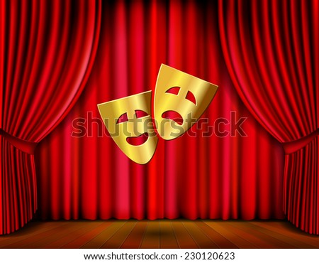 Theater stage with golden masks and red curtain vector illustration - stock vector