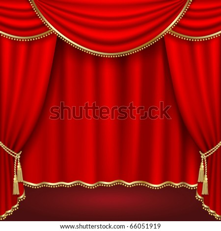 Theater  stage with red curtain - stock vector