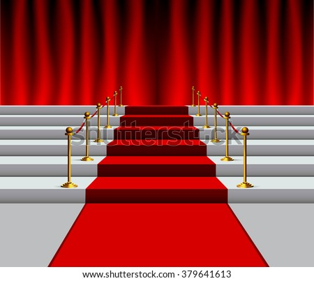Theater stage with red curtain and carpet on stairs with rope barrier - stock vector