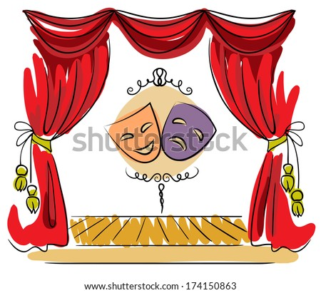 Theater stage with red curtain and masks vector illustration - stock vector