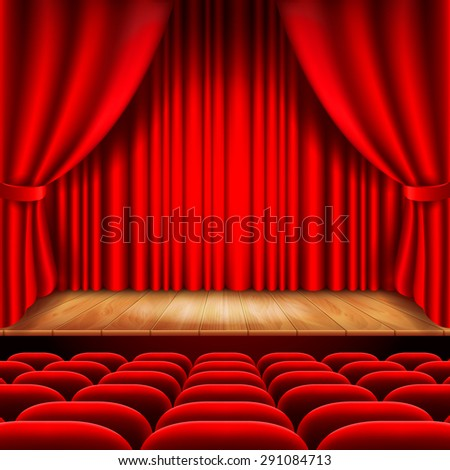 Theater stage with red curtain and seats photo realistic vector background - stock vector