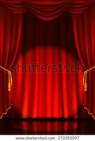 Theater stage with red curtain and spotlight. Vector illustration. - stock vector