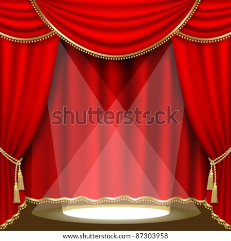 Theater stage  with red curtain. Clipping Mask. Mesh.EPS10. - stock vector