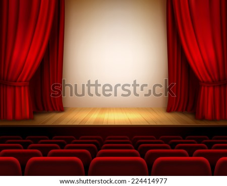 Theater stage with red velvet open retro style curtain background vector illustration - stock vector
