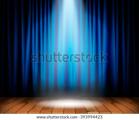 Theater stage with wooden floor and blue curtain and a spotlight in center. Vector illustration - stock vector