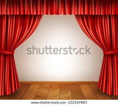 Theater stage with wooden floor red velvet open retro style curtain isolated on white background vector illustration - stock vector