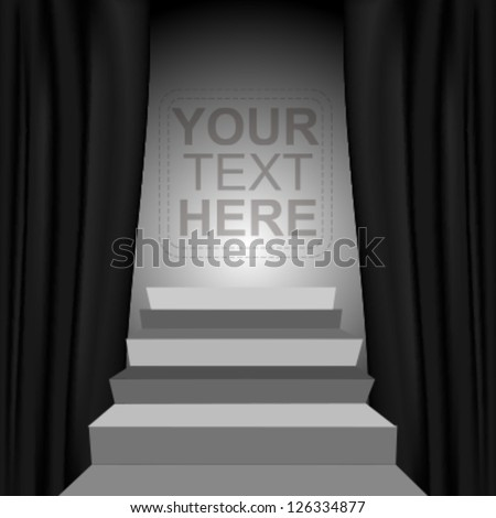 Theater style vector curtains and steps over gradient background - stock vector