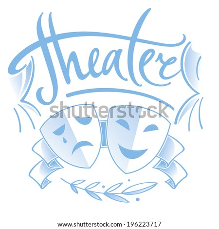 Theater - two masks, tragedy and comedy, curtain and laurel branch - stock vector