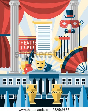 Theatre acting and theatrical play concept with decorative icons set vector illustration - stock vector