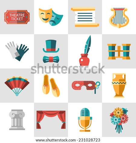 Theatre acting performance icons set with  ticket masks flat isolated vector illustration. - stock vector