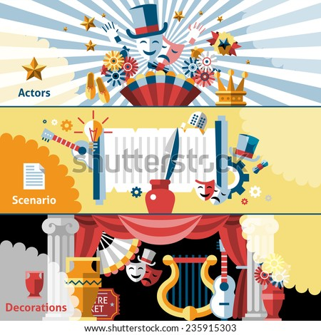 Theatre flat banner set with actors scenario  decorations isolated vector illustration. - stock vector